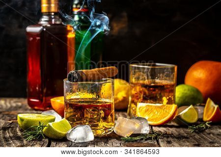 Elite Drink For Masculine Relaxation. Alcoholism, Alcohol Addiction And People Concept - Male Alcoho