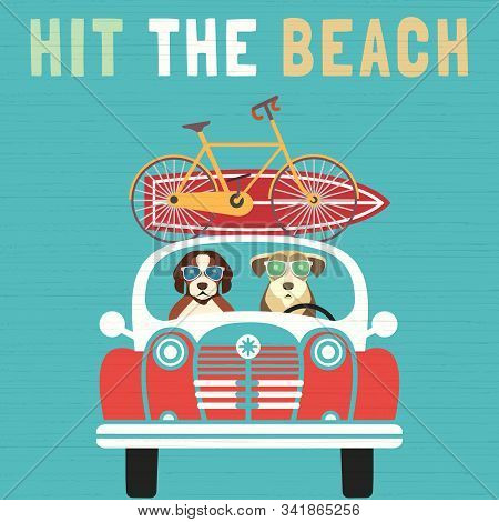 Time For Adventure Cute Comic Cartoon. Colorful Humor Retro Style. Dogs Go By Car To Beach For Fun L