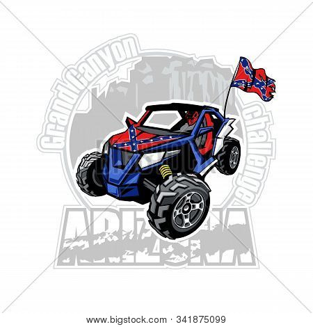 Utv Car On Arizona Grand Canyon Logo With Confederate Flag.