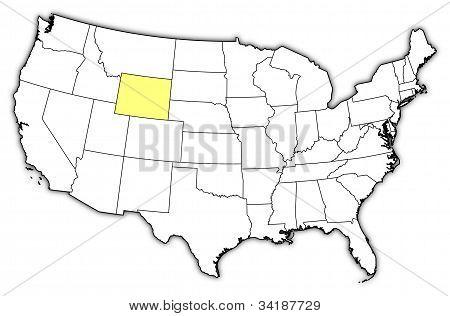 Karta över USA, Wyoming belyst