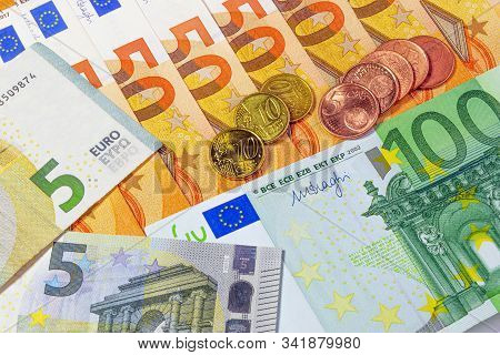 Money. Euro Banknotes. 5 Euros, 50 Euros And 100 Euros. Euro Cents. Saving Money Concept. Credit. Ba