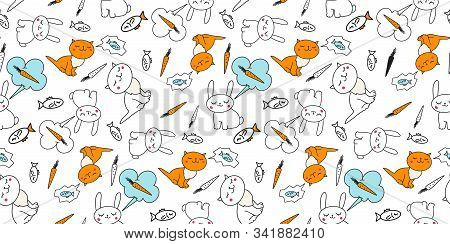 Seamless Cute Cat And Bunny  Pattern Vector Illustration. Kitten Dreams And Thinks About Fish Rabbit