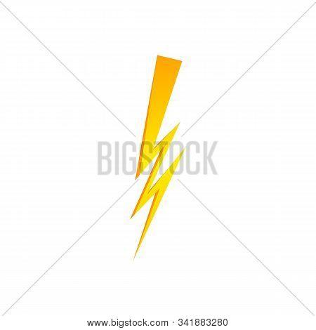 Lighting Thunder Bolt Flash Yellow Icon Set In Flat Style Isolated On White Background. Vector Illus