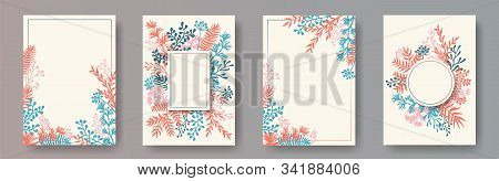 Cute Herb Twigs, Tree Branches, Leaves Floral Invitation Cards Collection. Plants Borders Romantic C