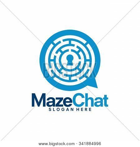 Maze Chat Logo Template, Maze Creator Discuss Logo Designs Vector