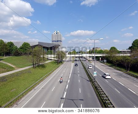 Munich, Germany - May The 1st, 2019: Highway Near Bmw Headquarter, Welt And Museum Buildings In Muni