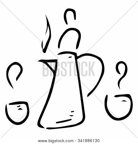 Coffee Pot With A Cup Of Coffee Icon. Vector Illustration Of A Mug With Coffee And Coffee Pot. Hand