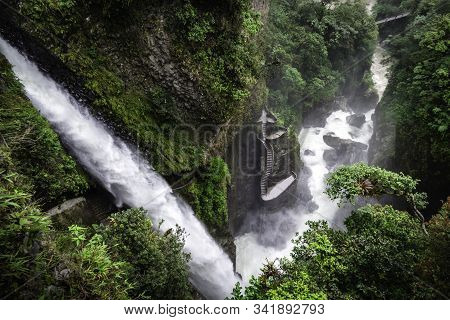 El Pailon Del Diablo Waterfall. The Amazing Stream Of Water And All Its Strenght Can Be Perceived. I