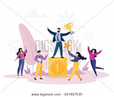 Business Team Rejoices In Success And Victory, Triumph. Achievement And Success Of A Friendly Team.
