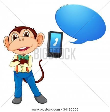illustration of a monkey with cell phone on a white