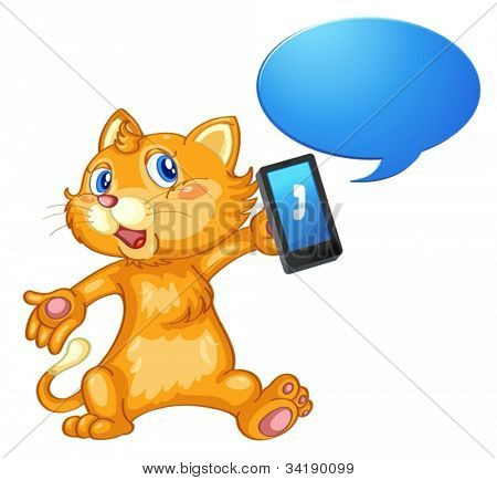 illustration of a mouse with cell phone on a white