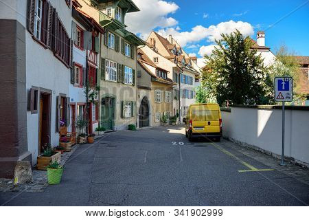Basel, Switzerland - April 17, 2019. Historical Residential Houses On The Petersgasse Street In The