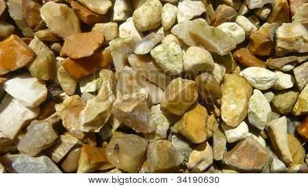 A close up of varieted stones