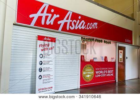 Labuan,malaysia-may 29,2019:air Asia Ticket Counter At Labuan Airport In Labuan,malaysia.air Asia Pa