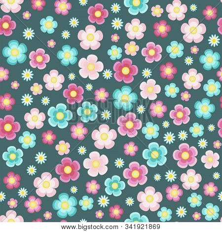 Periwinkle Pink Turquoise Five Petal Flowers On The Azure Blue Background Vector Seamless Pattern