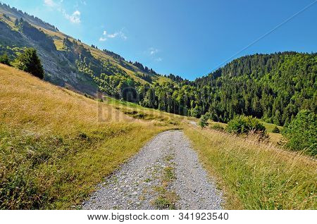 The Walking Path With Mountain Landscape At The Background, Apls, France