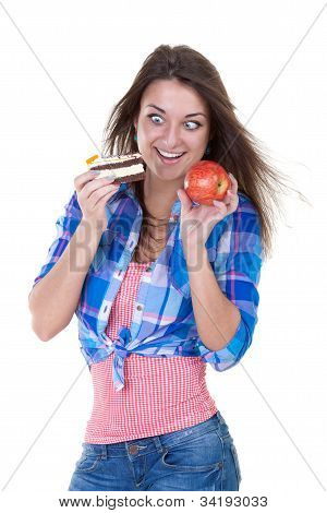 Portrait Of A Girl With An Apple And A Cake