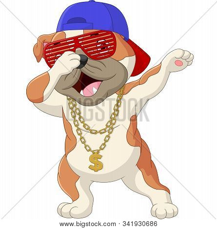 Vector Illustration Of Cute Dog Dabbing Dance Wearing Sunglasses, Hat, And Gold Necklace