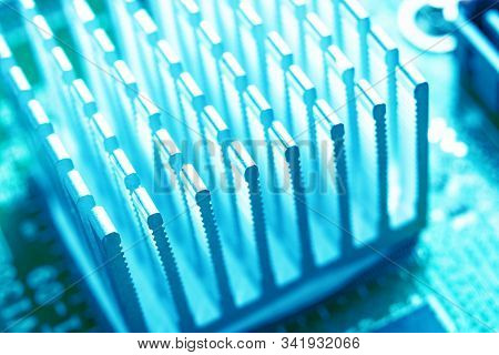 Macro Shot Of Circuit Board With Resistors Microchips And Electronic Components. Computer Hardware T