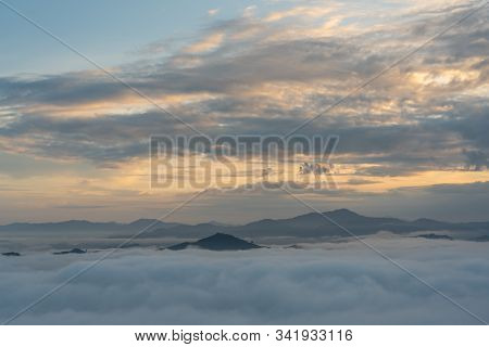 Beautiful View Of Sea Of Mist At Ayersweng View Point In The Morning In Public Park In Betong, Thail