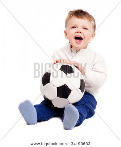happy  screaming baby with a football ball, isolated on white background
