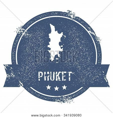 Phuket Logo Sign. Travel Rubber Stamp With The Name And Map Of Island, Vector Illustration. Can Be U