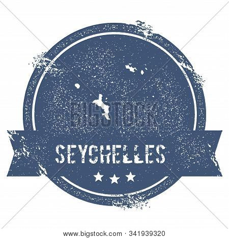Seychelles Logo Sign. Travel Rubber Stamp With The Name And Map Of Island, Vector Illustration. Can