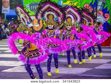 Bacolod , Philippines - Oct 28 : Participants In The Masskara Festival In Bacolod Philippines On Oct