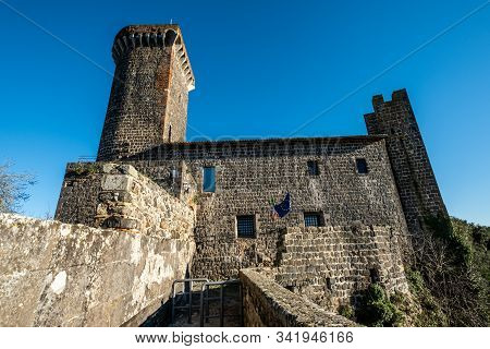 Vulci, Italy - December 26, 2019: The Badia Castle, Medieval Dating Back To The 13th Century, An Anc
