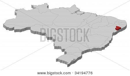 Karta över Brasilien, Sergipe belyst