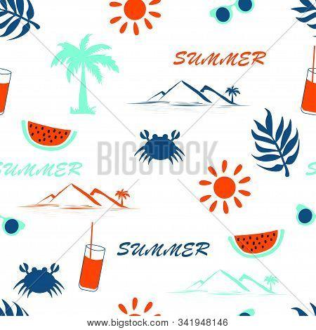 Summer Seamless Pattern On A White Background. Trendy Colors 2020. Lush Lava, Aqua Ment, Classic Blu