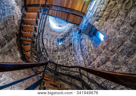 Vulci, Italy - December 26, 2019: Internal Staircase Of The Archaeological Museum Of Vulci, An Ancie