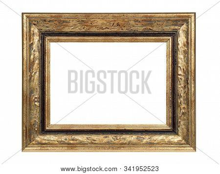 Empty Gray Brown Wooden Frame For Paintings With Gold Patina. Isolated On White Background