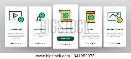 Intellectual Property Onboarding Mobile App Page Screen Vector. Human Silhouette, Video And Music, B