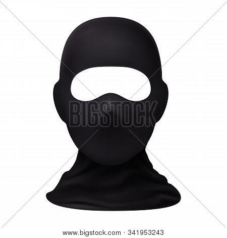 Balaclava Snowboarding Or Mountain Skiing Protective Wear. Symbol Of Hacker, Terrorist, Robber Or A