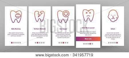 Toothache Onboarding Mobile App Page Screen Vector. Dental Toothache And Caries, Enamel Damaged And