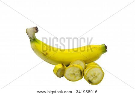 Banana Yellow Or Pisang Mas Sweet Fruit Isolated On White Background With Clipping Path