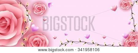valentine day, valentine, Valentines Day background, Pink Rose, realistic rose, rose vector, Valentine's day banners, Valentines Day flyer, Valentines Day design, Valentines Day with Heart on pink background, Copy space text area, vector illustration.