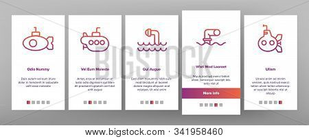Periscope Onboarding Mobile App Page Screen Vector. Military Submarine Vision Equipment Periscope, N
