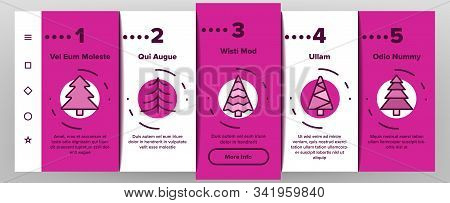 Evergreen Pine Tree Onboarding Mobile App Page Screen Vector. Evergreen Fir With Needles, Christmas