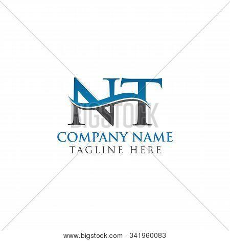 Swoosh Letter Nt Logo Design Vector Template. Water Wave Nt Logo Vector.