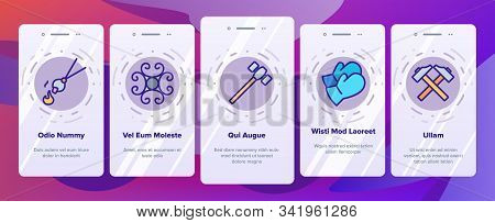 Blacksmith Onboarding Mobile App Page Screen Vector. Wrought Fence And Gate, Railing And Signboard,