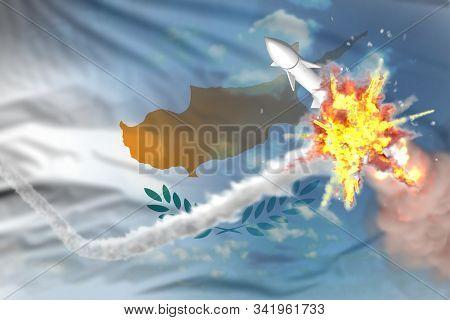 Cyprus Intercepted Nuclear Warhead, Modern Antirocket Destroys Enemy Missile Concept, Military Indus