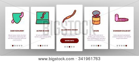 Worm Insect Animal Onboarding Mobile App Page Screen Vector. Worm In Apple And Bait On Fishing Hook,