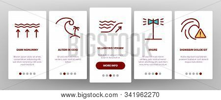 Tsunami Wave Onboarding Mobile App Page Screen Vector. Broken House And Flooded Building, Boat And H