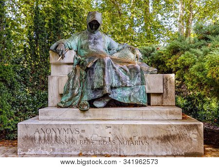 Budapest, Hungary - November 15, 2019:  Statue Of Anonymous, Vajdahunyad Castle, Budapest, Hungary .