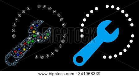 Glossy Mesh Configure Diagram Icon With Glow Effect. Abstract Illuminated Model Of Configure Diagram