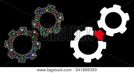 Flare Mesh Damaged Gears Icon With Lightspot Effect. Abstract Illuminated Model Of Damaged Gears. Sh