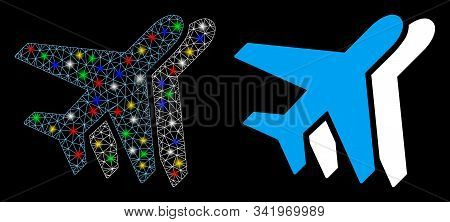 Glowing Mesh Airlines Icon With Sparkle Effect. Abstract Illuminated Model Of Airlines. Shiny Wire C