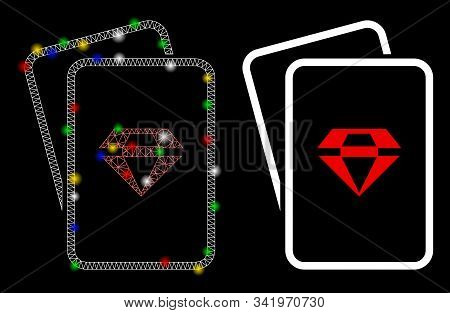 Flare Mesh Ruby Gambling Cards Icon With Glitter Effect. Abstract Illuminated Model Of Ruby Gambling